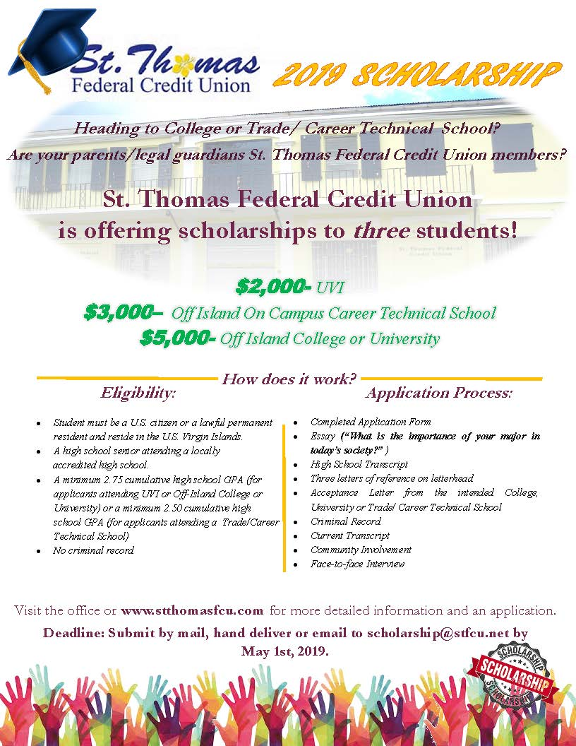 St. Thomas is providing scholarships to three students! Contact the credit union to apply.